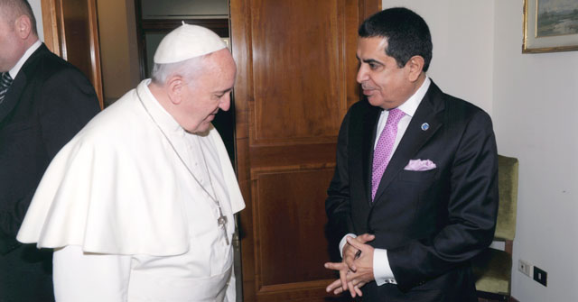 The High Representative for the United Nations Alliance of Civilizations has audience with His Holiness Pope Francis