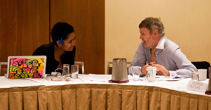UNAOC Director Marc Scheuer speaks with Ms. Jacque Koroi at the ICMYO meeting in New York.