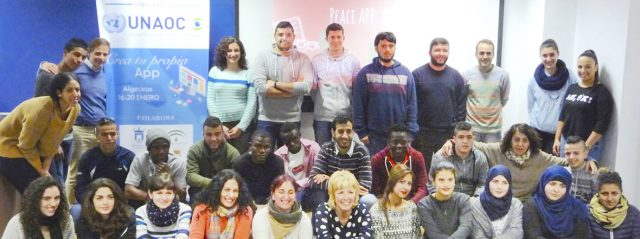 Refugees and local youth participate at the PEACEapp workshop in Algeciras, Spain