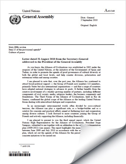 United Nations Alliance of Civilizations Annual Activity Report  (2010)