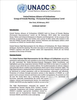 2015 Feb 18 UNAOC Group of Friends Ambassadorial Meeting Report