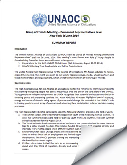 2014 June 26 UNAOC Group of Friends Meeting Report