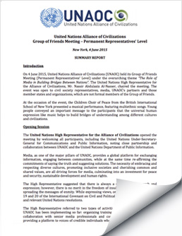2015 June 4 UNAOC Group of Friends Meeting Report