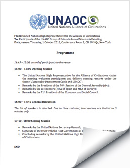2015 Oct 1 UNAOC Group of Friends Ministerial Meeting Program & Agenda