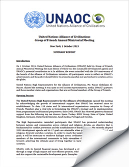 2015 October 1 UNAOC Group of Friends Ministerial Meeting Report