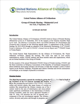 2013 September 17 UNAOC Group of Friends Ministerial Meeting Report