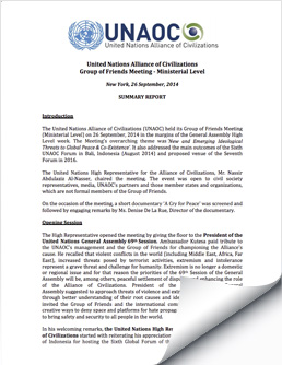 2014 September 26 UNAOC Group of Friends Ministerial Meeting Report