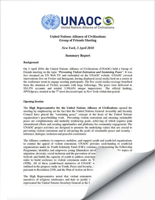 2018 April 03 UNAOC Group of Friends Meeting Report