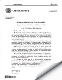UNAOC Resolution 2009