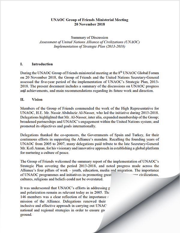 Summary of Discussion: Assessment of UNAOC Implementation of Strategic Plan (2013-2018)