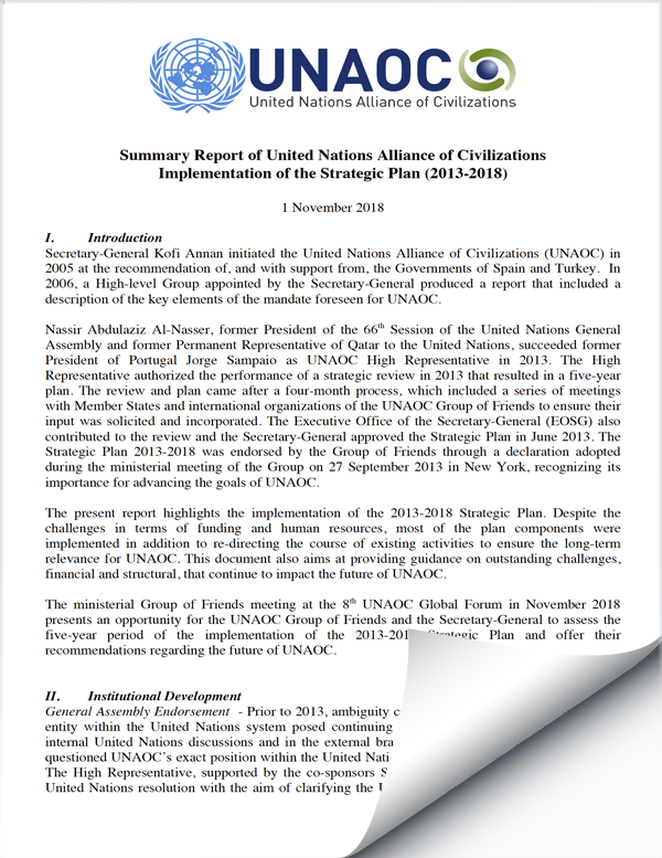 Summary Report of UNAOC Implementation of the Strategic Plan (2013-2018)